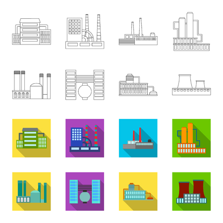 Factory set collection icons in outline and colored style vector symbol stock illustration web. Ilustracja