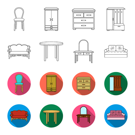 Furniture and home interior set collection icons in outline,and colored style vector symbol stock illustration web. Illustration