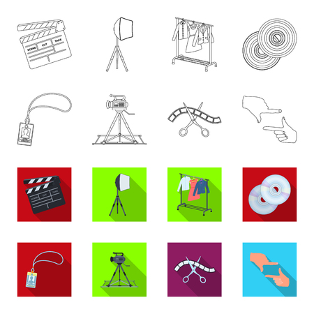 Badge, operator gesture and other accessories for the movie. Making movie set collection icons in outline, and colored style vector symbol stock illustration web.