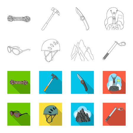 Mountaineering set collection icons in outline, and colored style vector symbol stock illustration web. Reklamní fotografie - 98780344