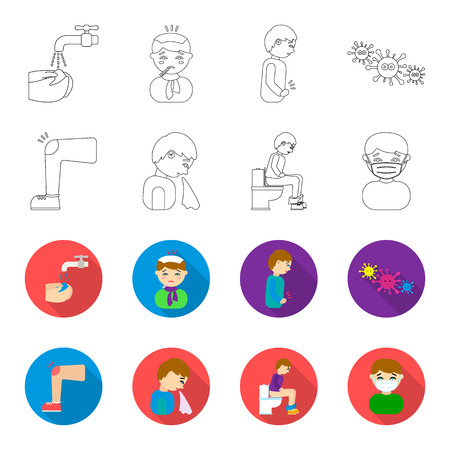 Sick or unhealthy set collection icons in outline,flat style vector symbol stock illustration . Illustration