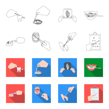Dental care, wound treatment and other web icon in outline, and colored style. Illustration