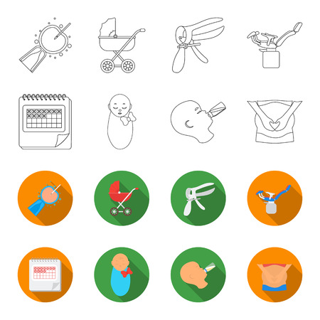 Calendar, newborn, stomach massage, artificial feeding. Pregnancy set collection icons in outline, and colored style vector symbol stock illustration web.