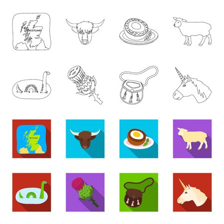 Scotland country set collection icons in outline, and colored style vector symbol stock illustration web.