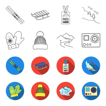 Ski resort set collection icons in outline,flat style vector symbol stock illustration web.  イラスト・ベクター素材