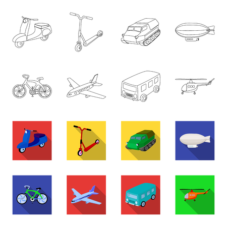 Transport set collection icons in outline,flat style vector symbol stock illustration web.
