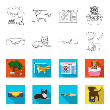 Lounger for a pet, clipping of claws in a vet clinic, lying dog, puppy with a ball. Vet clinic and pet,dog care set collection icons in outline,flat style vector symbol stock illustration .