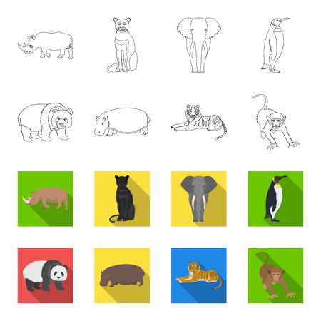 Bamboo bear, hippopotamus, wild animal tiger, monkey . Wild animal set collection icons in outline,flat style vector symbol stock illustration .