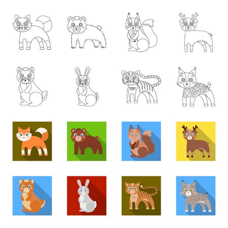 Animals, domestic, wild and other icon in outline,flat style. Zoo, toys, children, icons in set collection Illustration