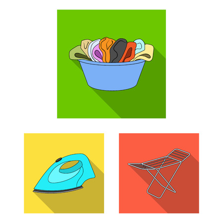 Dry cleaning equipment flat icons in set collection for design. Washing and ironing clothes vector symbol stock web illustration. Vectores