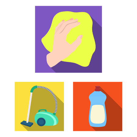 Cleaning flat icons set collection with a vacuum and hand with a cloth illustration. Illustration