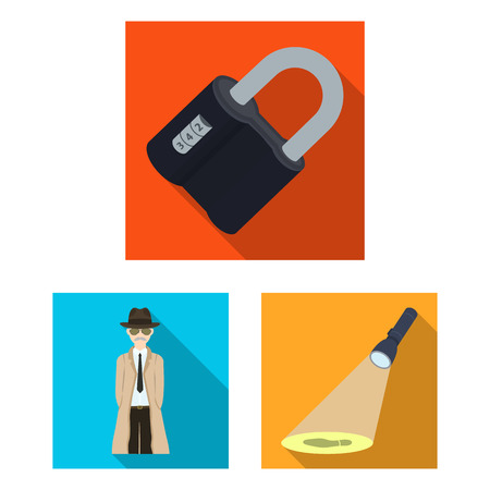 Detective agency flat icons in set collection for design. Crime and investigation vector symbol stock illustration.