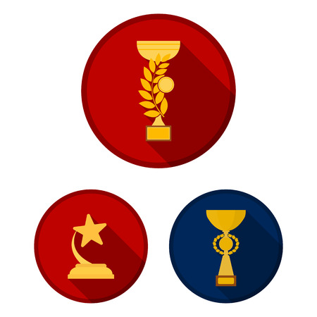 Gold Cup flat icons in set collection for design. Winners Cup vector symbol stock web illustration. 일러스트