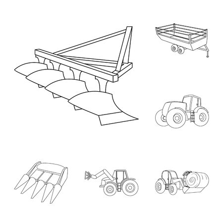 Agricultural machinery outline icons in set collection for design. Equipment and device vector symbol stock web illustration.