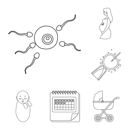 Woman and pregnancy outline icons in set collection for design. Gynecology and equipment vector symbol stock illustration.