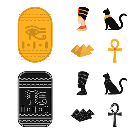 Eye of Horus, black Egyptian cat, pyramids, head of Nefertiti.Ancient Egypt set collection icons in cartoon,black style vector symbol stock illustration .