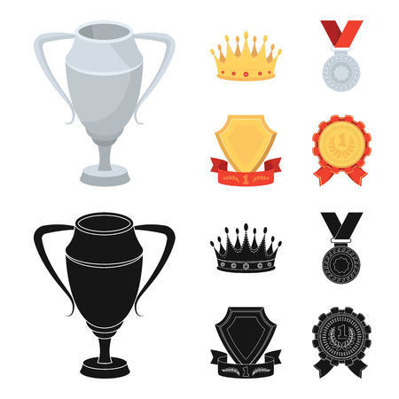 A silver cup, a gold crown with diamonds, a medal of the laureate, a gold sign with a red ribbon.Awards and trophies set collection icons in cartoon,black style vector symbol stock illustration .