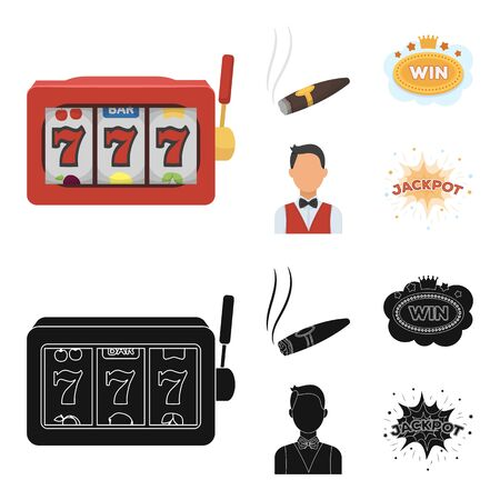 A gaming machine a one-armed bandit, a cigar with smoke, a five-star hotel sign, a dilettante in a vest. Casinos and gambling set collection icons in cartoon,black style vector symbol stock illustration web. Illustration