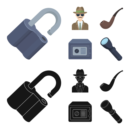 Lock hacked, safe, smoking pipe, private detective.Detective set collection icons in cartoon,black style vector symbol stock illustration .