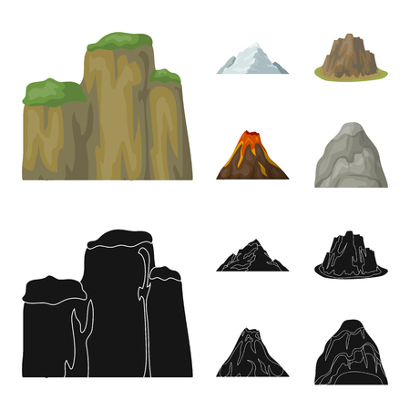 Sheer cliffs, a volcanic eruption, a mountain with a beach, a glacier. Different mountains set collection icons in cartoon,black style vector symbol stock illustration .
