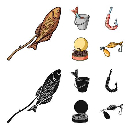 Fishing, fish, shish kebab .Fishing set collection icons in cartoon,black style vector symbol stock illustration web.