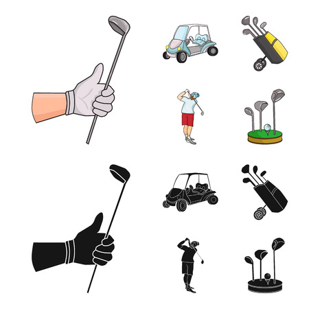 A gloved hand with a stick, a golf cart, a trolley bag with sticks in a bag, a man hammering with a stick. Golf Club set collection icons in cartoon,black style vector symbol stock illustration web.