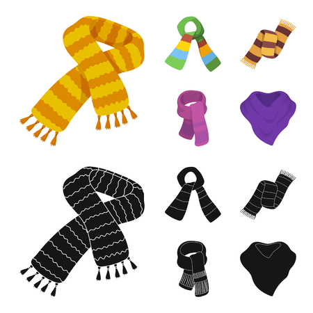 Various kinds of scarves, scarves and shawls. Scarves and shawls set collection icons in cartoon,black style vector symbol stock illustration . Иллюстрация