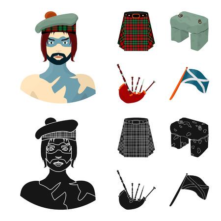 Montañés, vikingo escocés, tartán, falda escocesa, falda escocesa, piedra escocesa, instrumento musical nacional de gaitas. Escocia establece los iconos de la colección en dibujos animados, ilustración de stock de símbolo de vector de estilo negro.