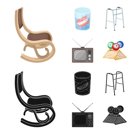 Denture, rocking chair, walker, old TV.Old age set collection icons in cartoon,black style vector symbol stock illustration .