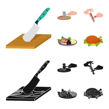 Cutlass on a cutting board, hammer for chops, cooking bacon, eating fish and vegetables. Eating and cooking set collection icons in cartoon,black style vector symbol stock illustration web. Banque d'images - 98880315
