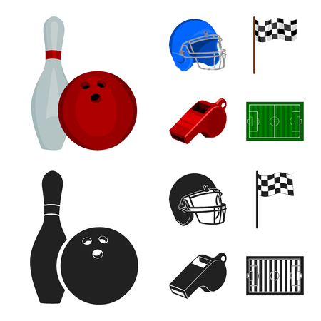 Bowl and bowling pin for bowling, protective helmet for playing baseball, checkbox, referee, whistle for coach or referee. Sport set collection icons in cartoon,black style vector symbol stock illustration web.