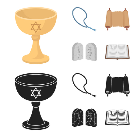 A cup of wine, Islamic beads, ten commandments, tanakh. Religion set collection icons in cartoon,black style vector symbol stock illustration web.