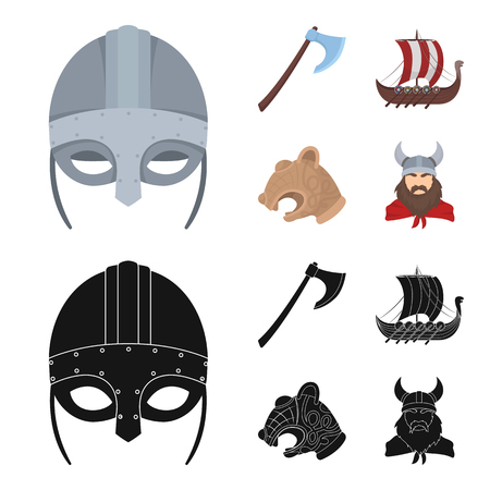 Viking helmet, battle ax, rook on oars with shields, dragon, treasure. Vikings set collection icons in cartoon,black style vector symbol stock illustration web.