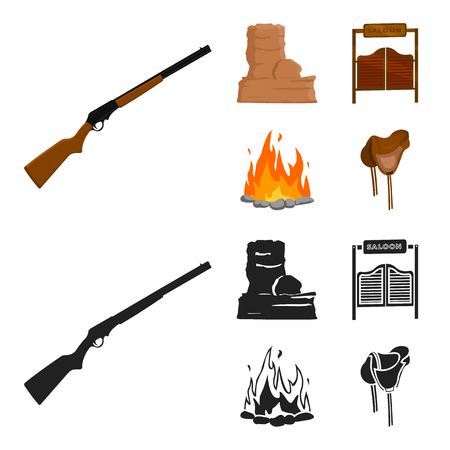 Winchester, saloon, rock and fire. Wild west set collection icons in cartoon, black style vector symbol stock illustration web.