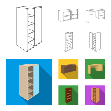Wardrobe with mirror, wardrobe, shelving with mezzanines. Bedroom furniture set collection icons in outline,flat style vector symbol stock illustration web.