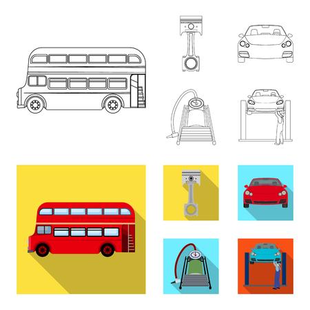 Voiture sur l'ascenseur, le piston et le contour de la pompe, icônes plates dans la collection de jeu pour la conception. Station de maintenance de voiture vecteur symbole stock illustration web.
