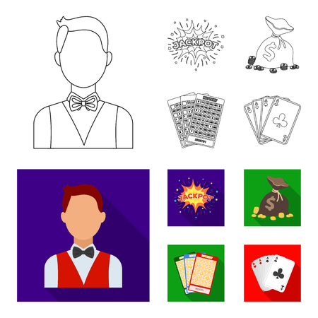 Jack sweat, a bag with money won, cards for playing Bingo, playing cards. Casino and gambling set collection icons in outline,flat style vector symbol stock illustration web.