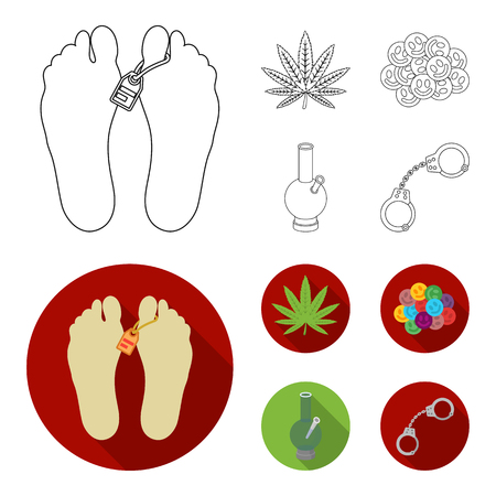 Hemp leaf, ecstasy pill, handcuffs and bong. Drug set collection icons in outline,flat style vector symbol stock illustration web.