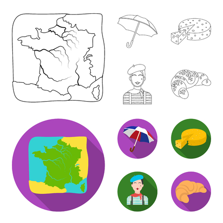 Umbrella, traditional, cheese, mime .France country set collection icons in outline,flat style vector symbol stock illustration web.