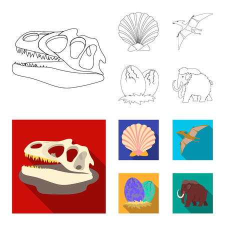 Prehistoric shell, dinosaur eggs,pterodactyl, mammoth. Dinosaur and prehistoric period set collection icons in outline, flat style vector symbol stock illustration web.