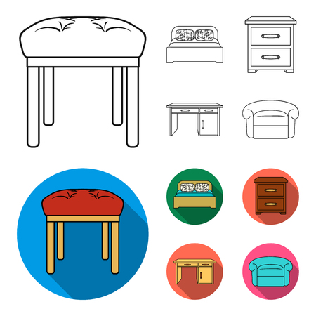 Interior, design, bed, bedroom .Furniture and home interiorset collection icons in outline,flat style vector symbol stock illustration web.