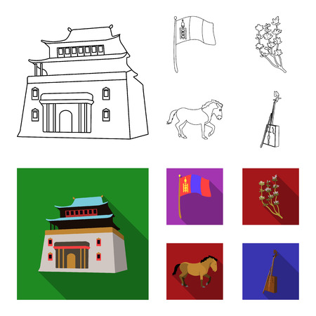 National flag, horse, musical instrument, steppe plant. Mongolia set collection icons in outline, flat style vector symbol stock illustration web. Çizim