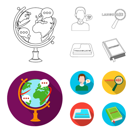 A translator in headphones, a magnifying glass showing translation, a button with an inscription, a book with a bookmark. Interpreter and translator set collection icons in outline,flat style vector symbol stock illustration web. Stock Illustratie