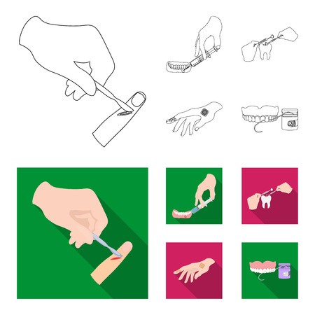 Anesthetic injection, dental instrument, hand manipulation, tooth cleaning and other web icon in outline,flat style.bactericidal plaster, medicine icons in set collection.