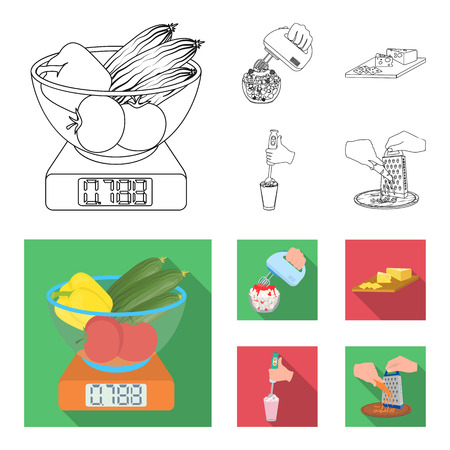 , jam, diet, accessories and other web icon in outline,flat style.cook, equipment, appliance, icons in set collection.