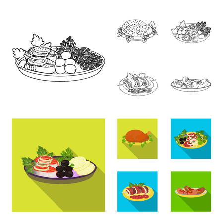 Fried chicken, vegetable salad, shish kebab with vegetables, fried sausages on a plate. Food and Cooking set collection icons in outline,flat style vector symbol stock illustration web.