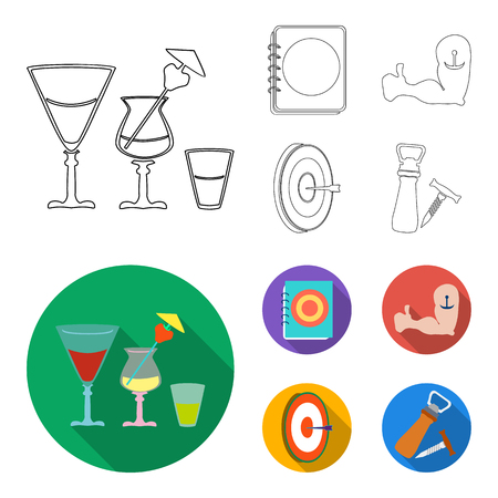 Menu, armor with tattoo, darts, corkscrew and opener.Pub set collection icons in outline,flat style vector symbol stock illustration web.