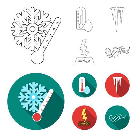 Humidity, icicles, thunderbolt, windy weather. Weather set collection icons in outline,flat style vector symbol stock illustration web.