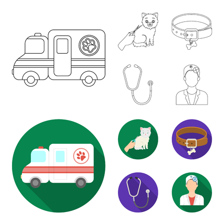 Collar, bone, cat and haircut. Vet Clinic set collection icons in outline,flat style vector symbol stock illustration web.