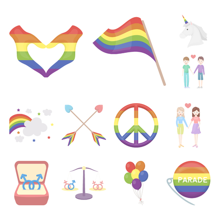 Gay and lesbian cartoon icons in set collection for design. Sexual minority and attributes vector symbol stock web illustration.